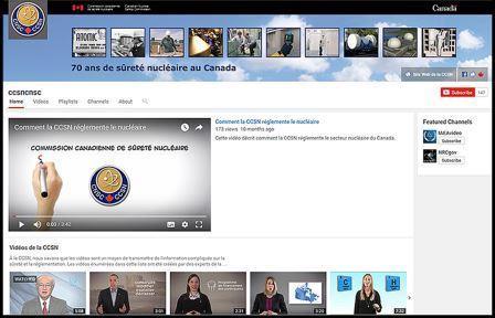Page d'accueil YouTube de la CCSN