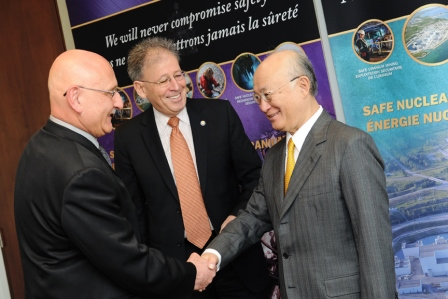 CNSC President Michael Binder and Executive Vice-President and Chief Regulatory Operations Officer Ramzi Jammal welcome Mr. Yukiya Amano, Director General of the IAEA