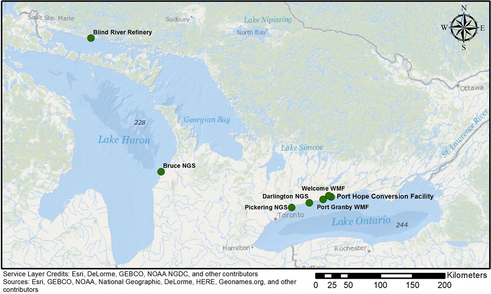 Figure 1: CNSC-regulated nuclear facilities with direct discharges to the Great lake