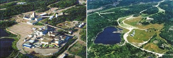 Stanleigh Mine site before and after decommissioning