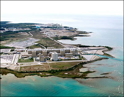 Aerial photo of the Bruce A and Bruce B Nuclear Power Plants