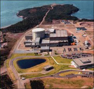 Aerial photograph showing the Point Lepreau Nuclear Power Plant
