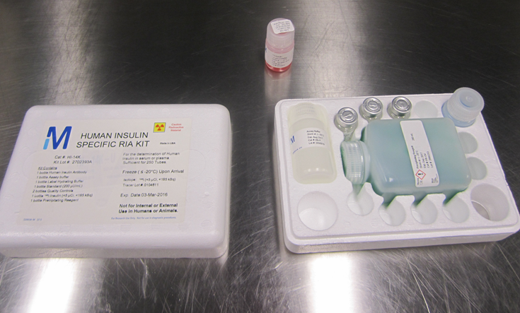 A radioimmunoassay kit used to measure and quantify insulin in a lab study