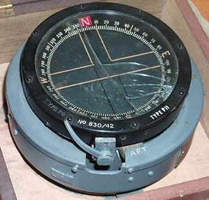 A compass from a Lancaster Bomber, containing radium-painted markings.