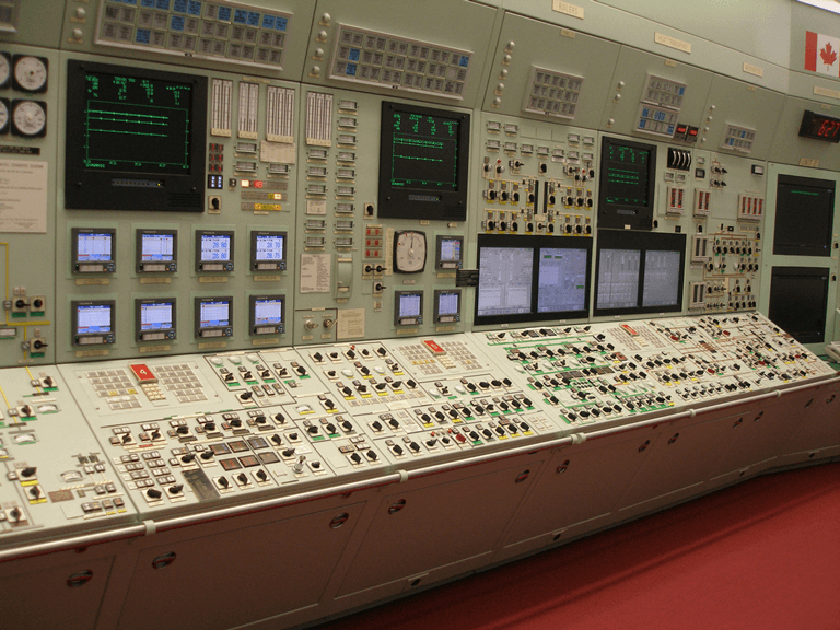 Photo of the control room simulator at the Bruce Nuclear Generating station