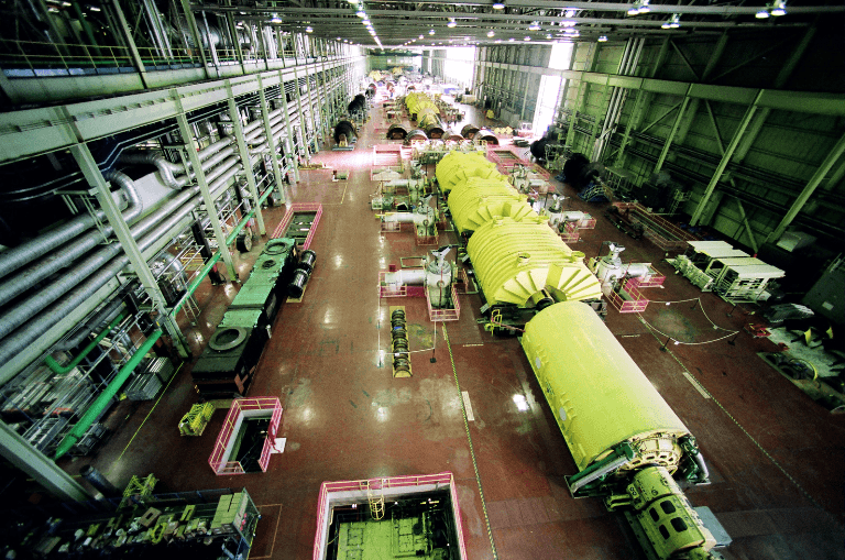 Photo of the turbine hall at the Bruce A Nuclear Generating Station.