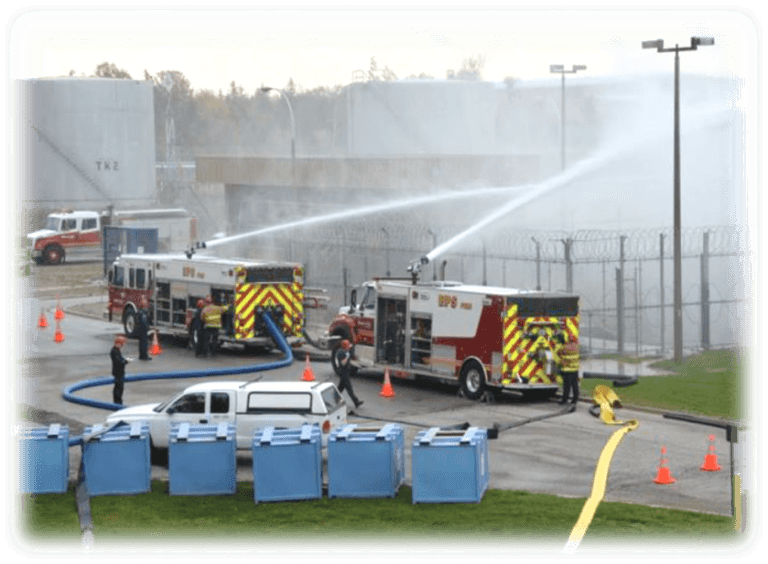 A photograph of Bruce Power conducting emergency mitigation equipment drills