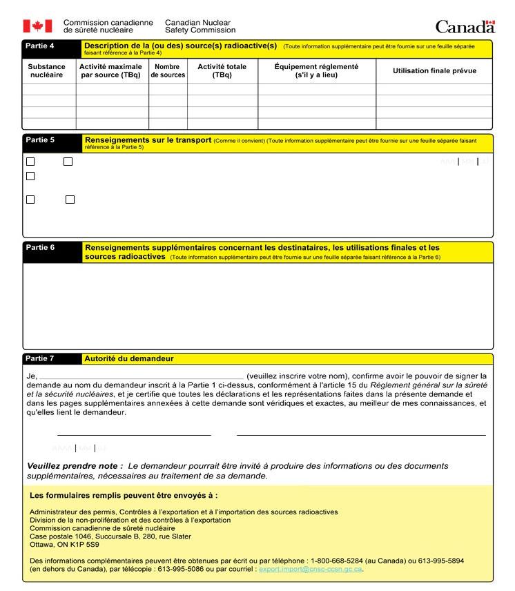 Cette image montre un formulaire de demande de permis visant l'exportation de sources radioactives à risque élevé. Elle accompagne le texte explicatif en annexe. (page 1)