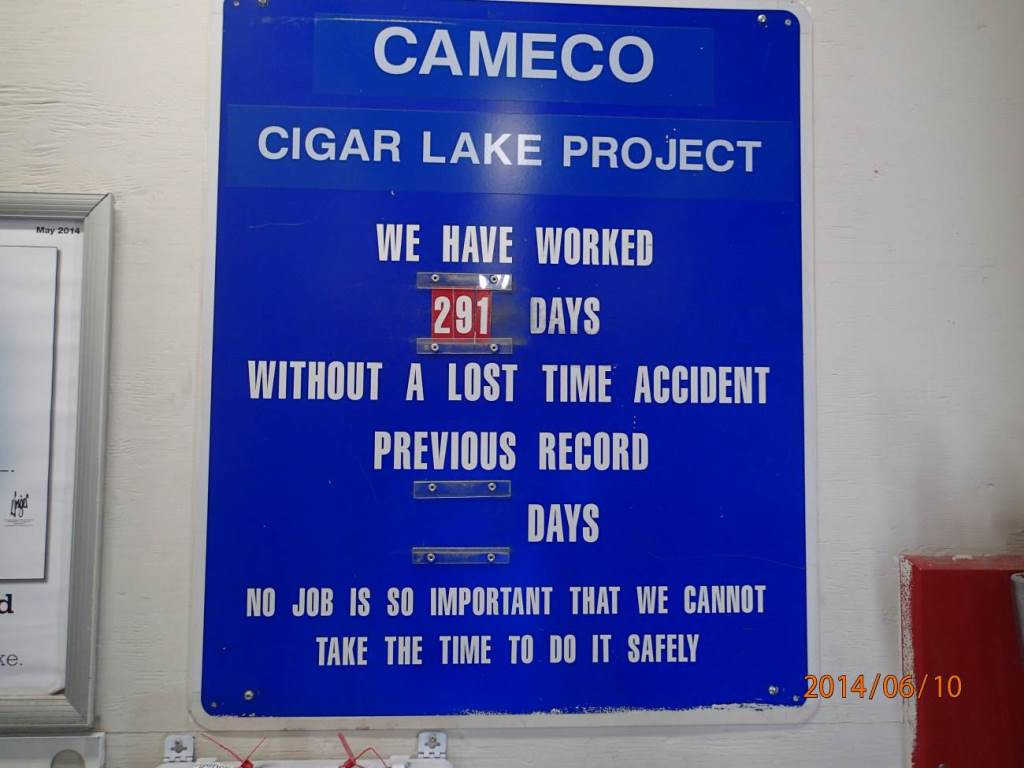 Regulatory oversight report for uranium mines and mills in canada sign at cigar lake showing the number of days 291 passed without a lost buycottarizona Gallery