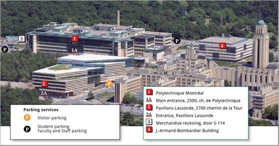 This picture shows an aerial view of the École Polytechnique de Montréal (ÉPM) campus in Montréal, QC. The picture includes the main building of ÉPM, which houses the SLOWPOKE-2 facility