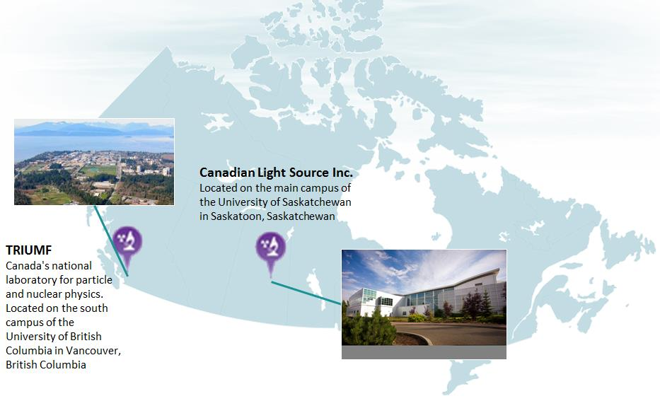 This map shows the location of the class IB particle accelerator facilities in Canada: TRIUMF in Vancouver, BC; and Canadian Light Source Inc. in Saskatoon, SK