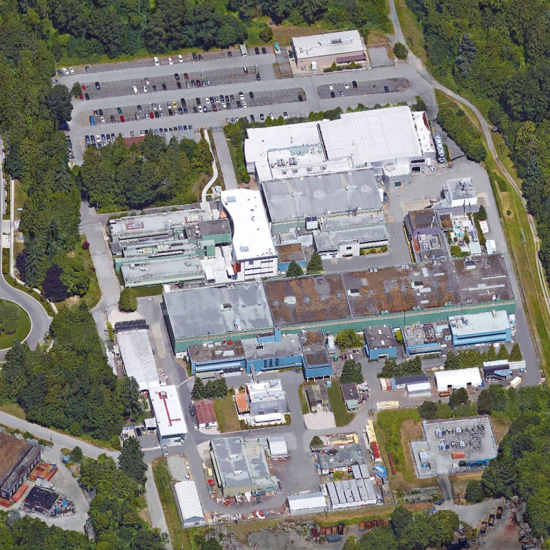 This picture shows an aerial view of the TRIUMF facility, which is located on the University of British Columbia campus in Vancouver, BC