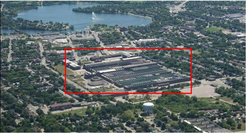 This picture shows an aerial view of the GEH-C Peterborough facility located in Peterborough, ON