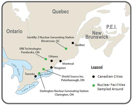 Locations of the four nuclear facilities included in the Environmental Fate of Tritium in Soil and Vegetation Study: Darlington Nuclear Generating Station, Clarington, ON; Shield Source Inc., Peterborough, ON; SRB Technologies, Pembroke, ON; Gentilly-2 Nuclear Generating Station, Bécancour, QC