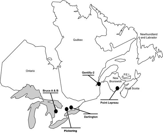 A partial map of Canada showing the locations of NPPs, with Darlington, Pickering and Bruce in Ontario, Gentilly-2 in Quebec and Point Lepreau in New Brunswick.