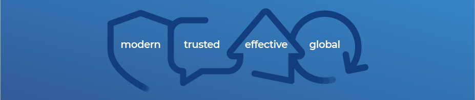 Four icons representing CNSC's four priorities: Modern, Trusted, Effective and Global