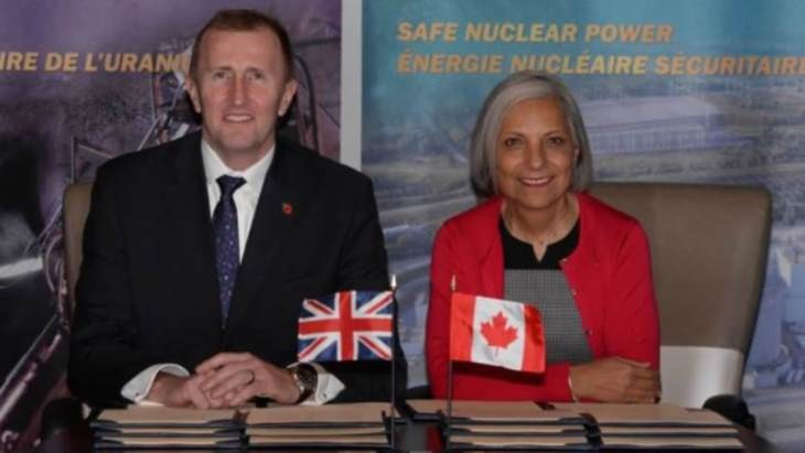 CNSC President Rumina Velshi and the ONR's Mark Foy sign a new administrative arrangement for nuclear cooperation