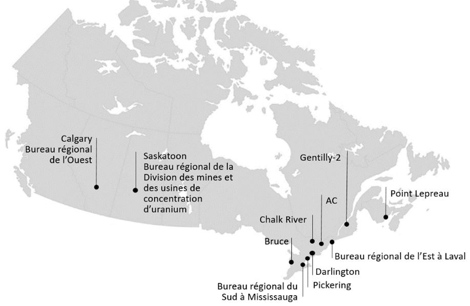Où nous travaillons : Calgary (Bureau régional de l'Ouest), Saskatoon (Bureau régional de la Division des mines et des usines de concentration d'uranium), Bureau régional du Sud à Mississauga, Bruce, Pickering, Darlington, Chalk River, Ottawa (l'administration centrale), Bureau régional de l'Est, Gentilly-2, Point Lepreau