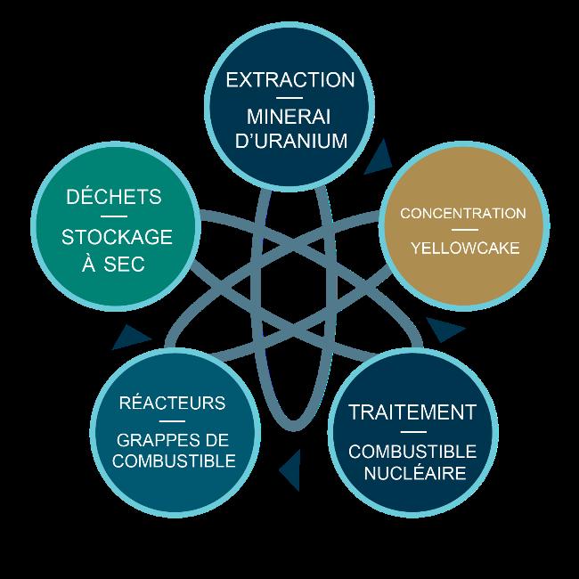 Le cycle du combustible nucléaire : Extraction (minerai d'uranium), Concentration (yellowcake), traitement (combustible nucléaire), Réacteurs (grappes de combustible), Déchets (stockage à sec)