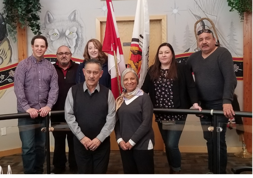 President Velshi meeting with leadership from Sagkeeng First Nation in February 2020 in their community during her tour of Manitoba.