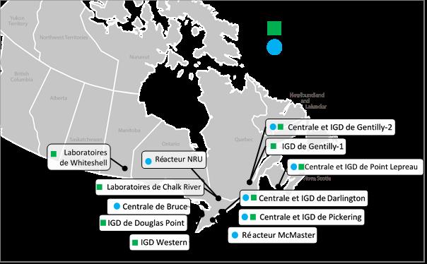 Carte du    Canada identifiant les emplacements des installations de gestion du    combustible usé