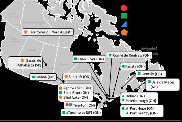 Carte du    Canada identifiant les emplacements des installations de gestion des déchets    radioactifs autres que le combustible usé