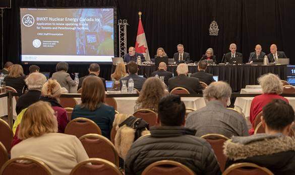Image de    l'audience publique de la Commission sur le renouvellement du permis de BWXT    en 2020