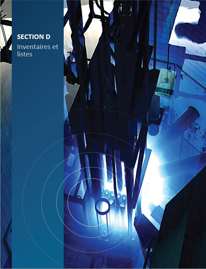 Image de    couverture pour la section D, Inventaires et listes, montrant la piscine du    réacteur de recherche nucléaire de McMaster