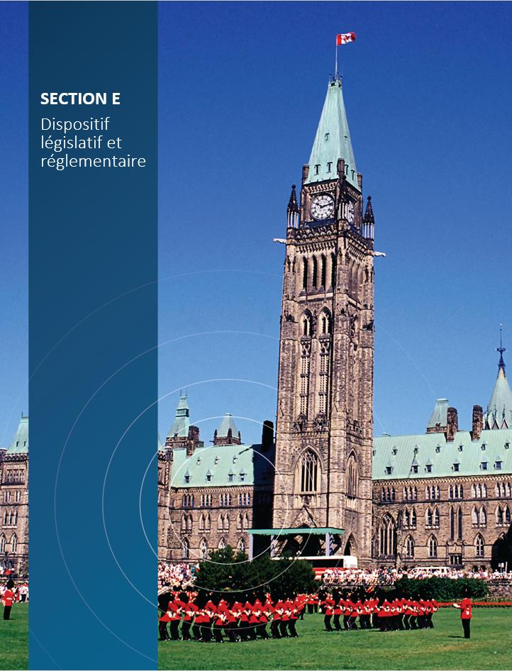 Image de    couverture pour la section E, Dispositif législatif et réglementaire,    montrant la colline du Parlement