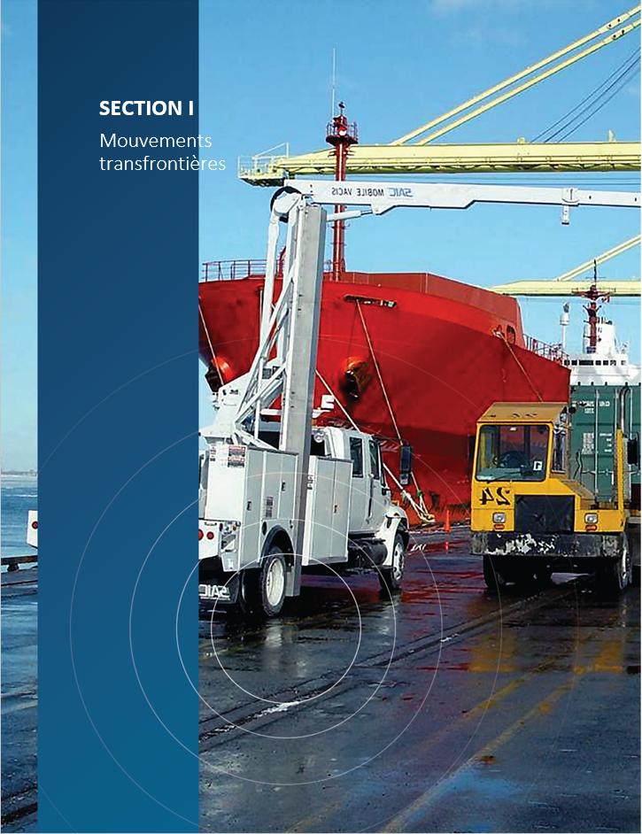 Image    de couverture pour la section I, Mouvements transfrontières, montrant un    moniteur-portique s'apprêtant à scanner un conteneur d'expédition à une    installation de transport intermodal