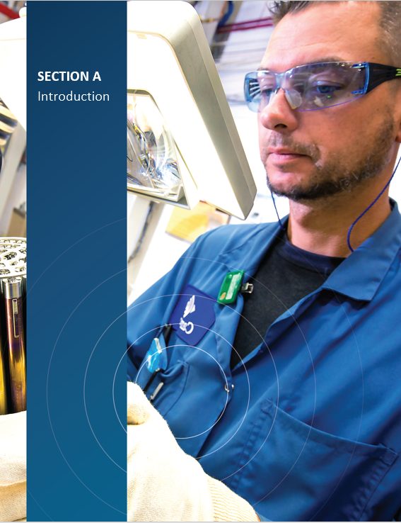 Cover image of an employee at Cameco Fuel Manufacturing Facility inspecting finished CANDU fuel bundles for 'Section A Introduction'