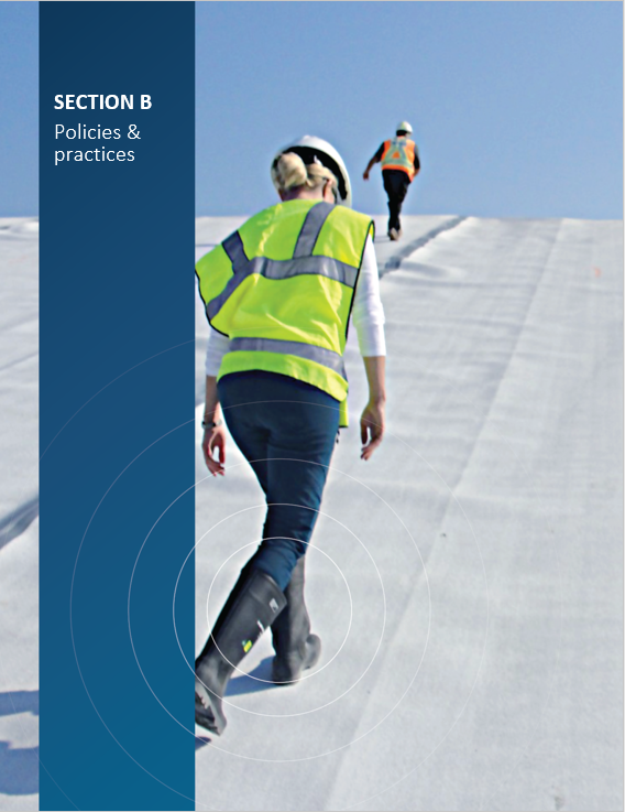 Cover image of CNSC staff inspecting the high density polyethylene liner at the Port Granby Long-Term Waste Management Facility for 'Section B Policies and practices'