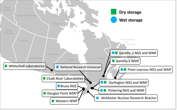 Map of Canada pinpointing the locations of facilities that manage spent fuel