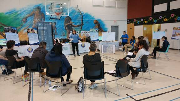 Image of CNSC staff presenting to community members