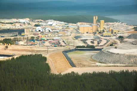 Aerial image of Cigar Lake operation with waste rock stockpile C in the right foreground