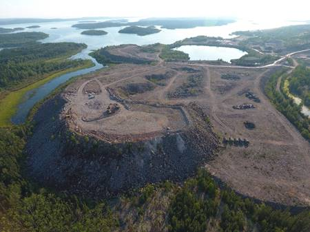 Aerial image of Gunnar mine site taken by the SRC in 2017