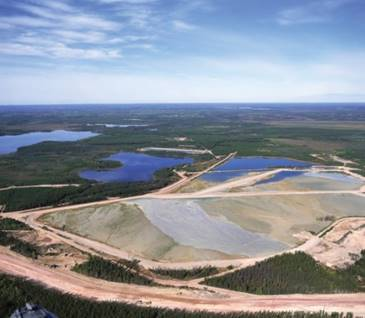 Image of Cluff Lake tailings management area during operation