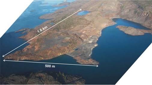 Aerial image of Port Radium mine in 2002