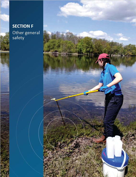 Cover image of CNSC staff taking water samples for the CNSC's Independent Environmental Monitoring Program for 'Section F Other general safety'