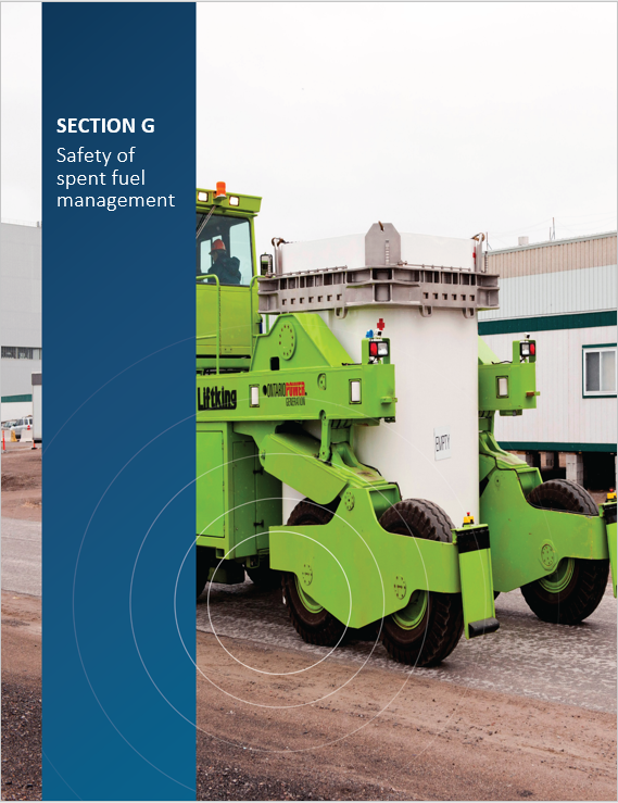 Cover image of an employee transferring an empty Ontario Power Generation Dry Storage Container for 'Section G Safety of spent fuel management'