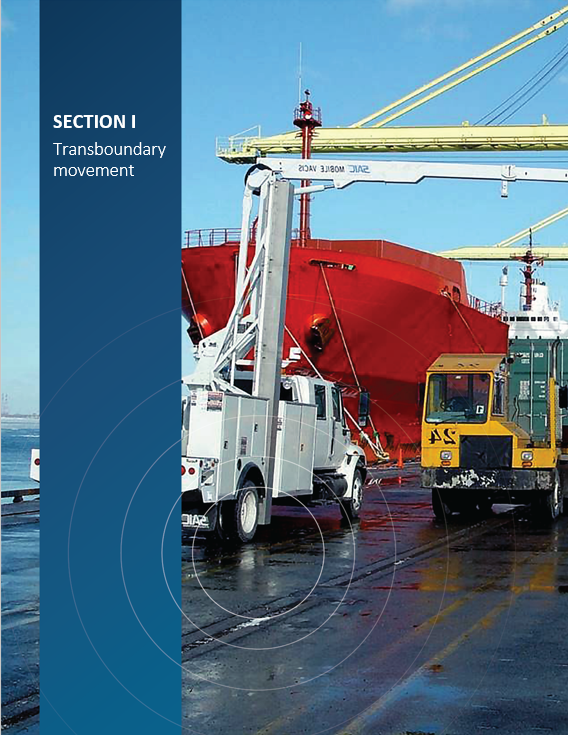 Cover image of the portal monitor preparing to scan shipping containers at an intermodal transportation facility for 'Section I Transboundary movement'