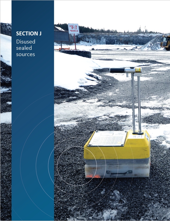 Cover image of portable gauge in the field for 'Section J Disused sealed sources'