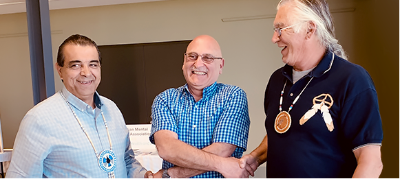 Figure 1: CNSC Executive Vice-President and Chief Regulatory Operations Officer Ramzi Jammal, Chief Lester Anoquot and Chief Greg Nadjiwon signed the Terms of Reference on May 21, 2019 at the Bruce County Museum and Cultural Centre in Southampton, Ontario.