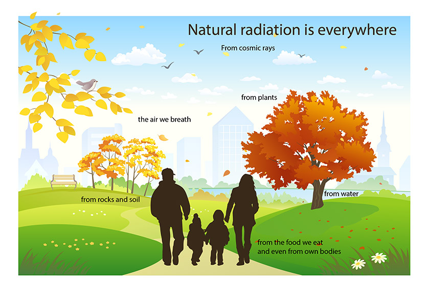 This image shows a family walking outside and examples of various sources of natural background radiation from air, plants, cosmic rays, rocks and soil, water, food, and from our own bodies.