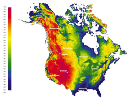 This image shows a map of North America and uses a colour scale to show the annual outdoor effective dose (µSv) from cosmic radiation.