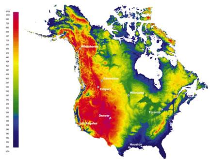 Dose efficace annuelle de rayonnement cosmique à l'extérieur en Amérique du Nord (en microsieverts)