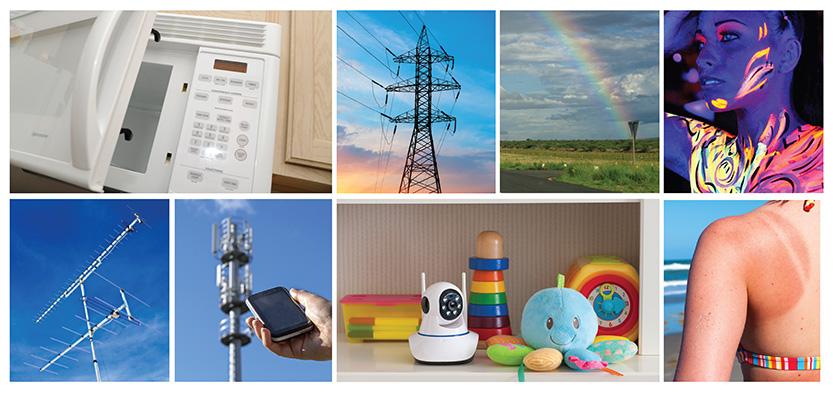 Cette image montre des exemples de sources de rayonnement non ionisant, notamment les micro ondes, les moniteurs pour bébés, les lignes de transport d'électricité, les rayons UVB, la peinture phosphorescente et des téléphones cellulaires.