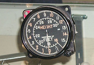 An aircraft navigational instrument with radium-painted lettering, numerals and pointers.