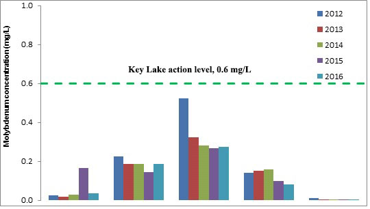 Key Lake action level 0.6 mg/L