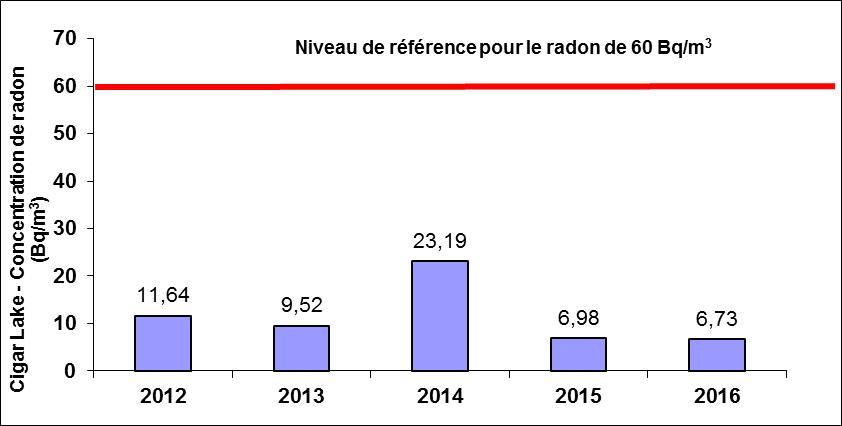 Concentrations: 2012: 11.64 Bq/m<sup>3</sup>; 2013: 9.52 Bq/m<sup>3</sup>; 2014: 23.19 Bq/m<sup>3</sup>; 2015: 6.98 Bq/m<sup>3</sup>; 2016: 6.73 Bq/m<sup>3</sup>